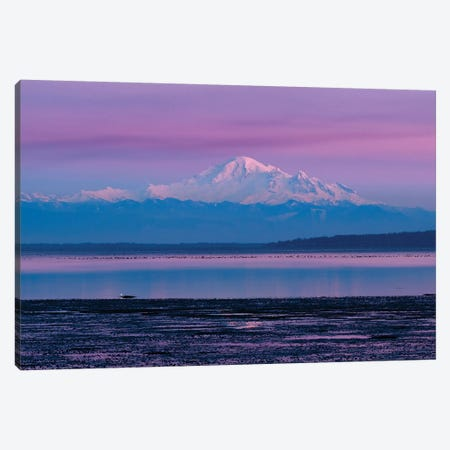 Canada, British Columbia, Boundary Bay. Mount Baker From The Shoreline At Sunset. Canvas Print #YCH50} by Yuri Choufour Canvas Art Print