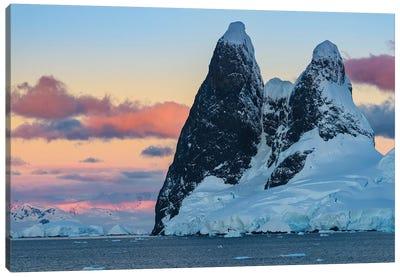 Antarctic Peninsula, Antarctica, Lemaire Channel. Una Peaks At Sunset. Canvas Art Print