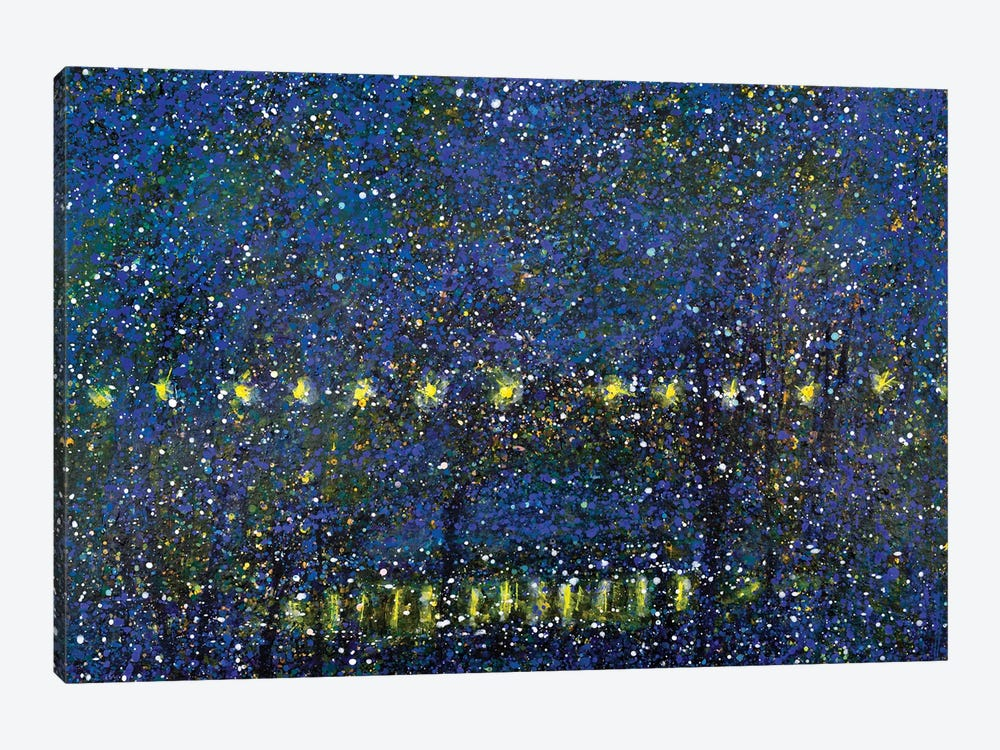 Night Time City Park With Pond 1-piece Art Print