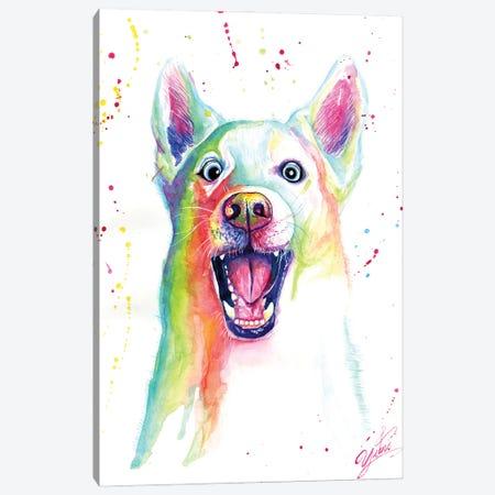 Colorful Happy Wolf Canvas Print #YGM13} by Yubis Guzman Canvas Print