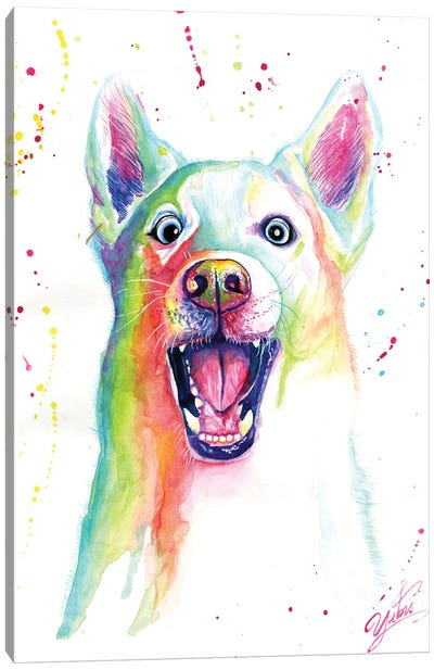 Colorful Happy Wolf Canvas Art Print