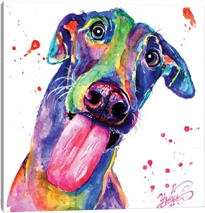 Colorful Puppy Canvas Art Print