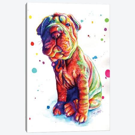 Colorful Shar Pei Puppy Canvas Print #YGM17} by Yubis Guzman Canvas Artwork