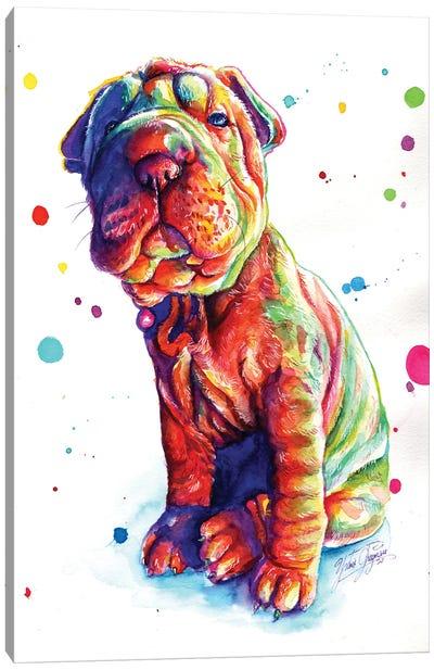 Colorful Shar Pei Puppy Canvas Art Print