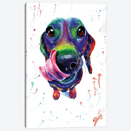 Cute Dachshund Canvas Print #YGM19} by Yubis Guzman Canvas Art Print