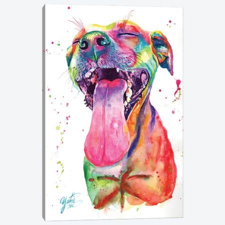 Colorful Pitbull II Canvas Print #YGM20} by Yubis Guzman Canvas Wall Art
