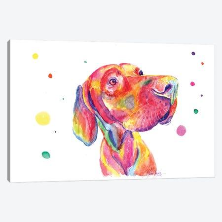 Colorful Observer Dog Canvas Print #YGM39} by Yubis Guzman Canvas Art Print