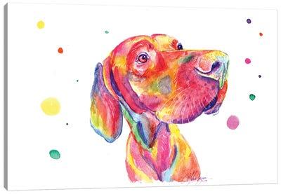 Colorful Observer Dog Canvas Art Print
