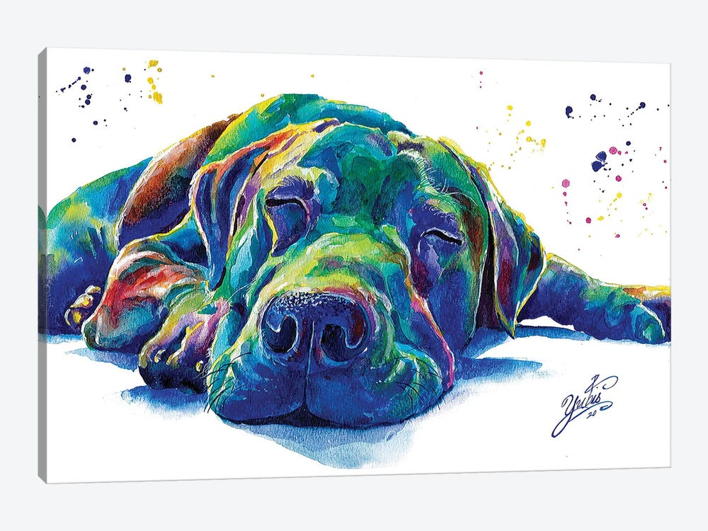 Blue Dog I by Yubis Guzman 1-piece Canvas Print