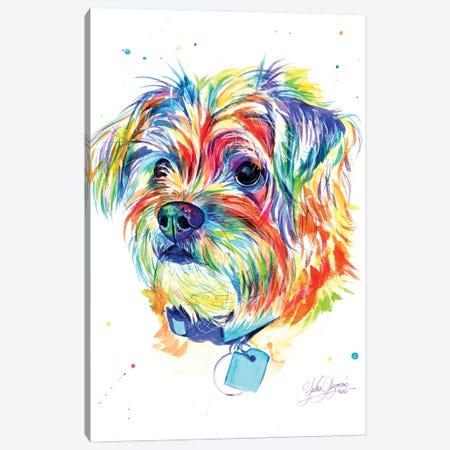 Little Colorful Puppy Canvas Print #YGM41} by Yubis Guzman Canvas Art