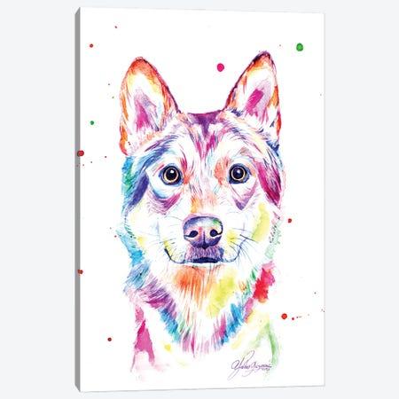 Colorful Wolf Canvas Print #YGM42} by Yubis Guzman Canvas Art