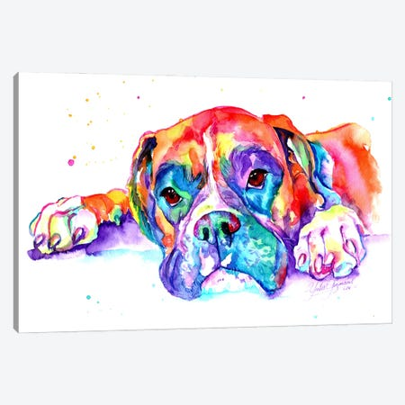 Colorful Boxer Canvas Print #YGM5} by Yubis Guzman Art Print