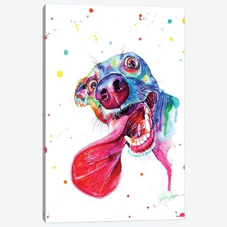 Colorful Happy Dog Canvas Print #YGM60} by Yubis Guzman Canvas Artwork