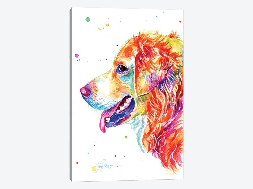 Colorful Golden Retriever by Yubis Guzman 1-piece Canvas Art