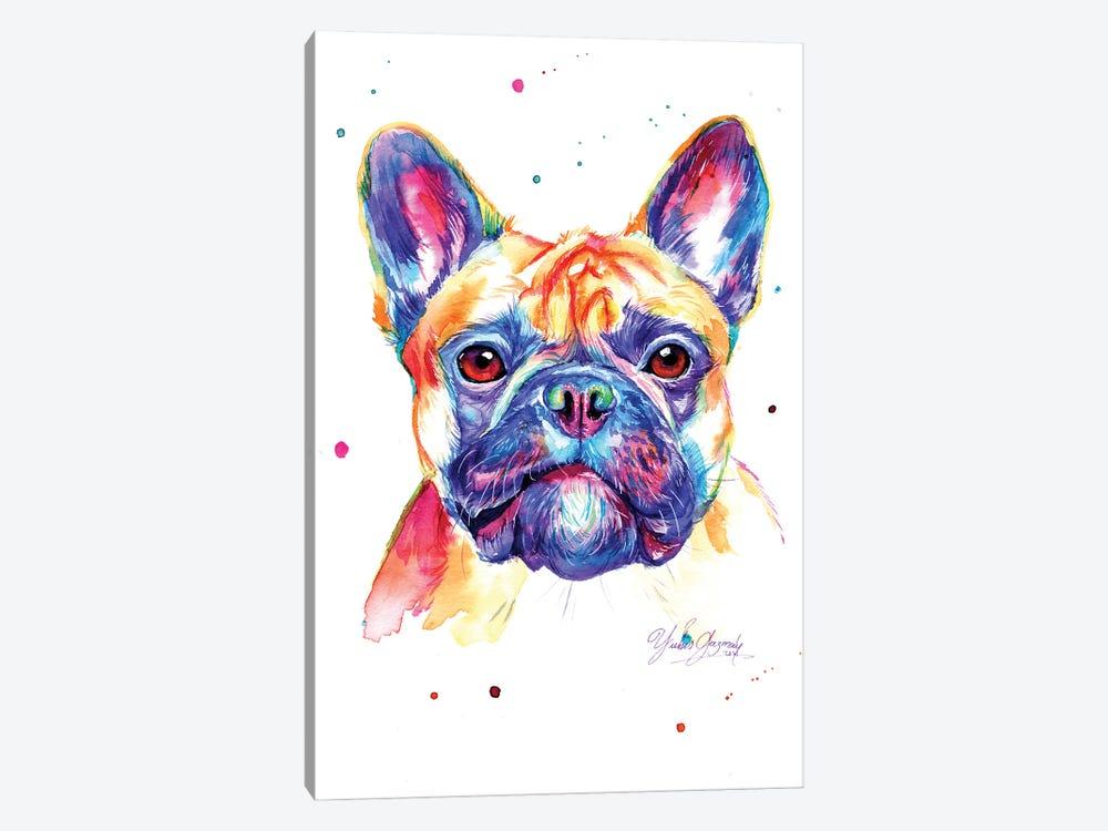 Colorful Bulldog Frances by Yubis Guzman 1-piece Canvas Artwork