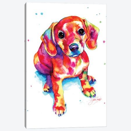 Tender Colorful Puppy Canvas Print #YGM73} by Yubis Guzman Canvas Art Print