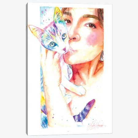 My Little Cat Friend Canvas Print #YGM75} by Yubis Guzman Canvas Art