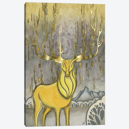 Gold Deer Canvas Print #YLB22} by Yulia Belasla Canvas Artwork