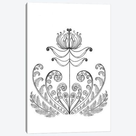 The Fern Flower, Pencil Drawing Canvas Print #YLB40} by Yulia Belasla Canvas Artwork