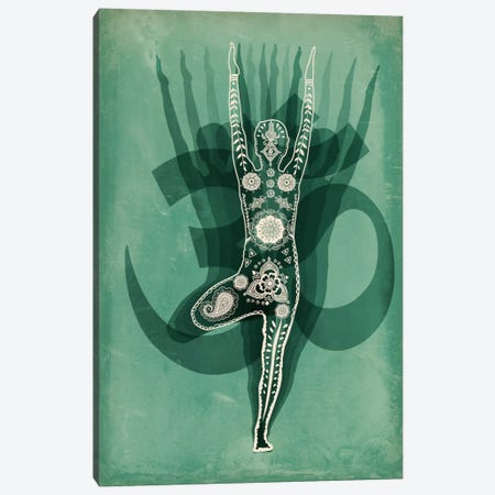 OM Tree Pose Green Canvas Print #YOG2} by Unknown Artist Canvas Artwork