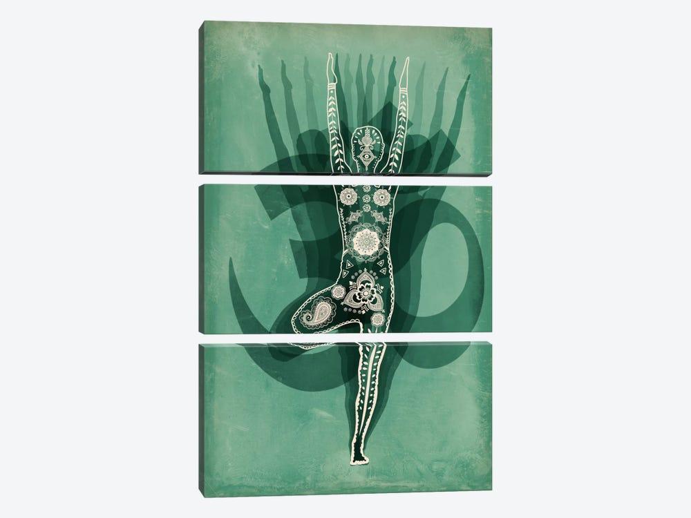 OM Tree Pose Green by Unknown Artist 3-piece Art Print