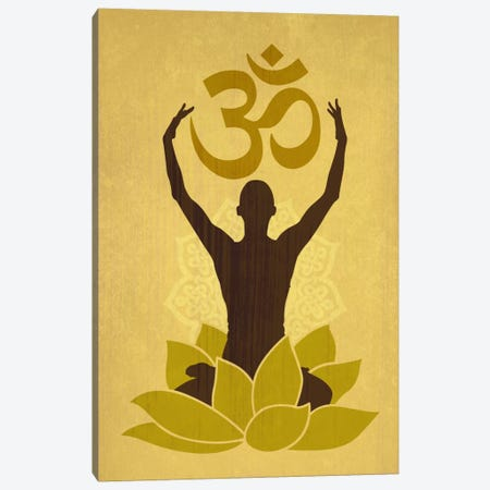 OM Lotus Flower Pose Green Canvas Print #YOG3} by Unknown Artist Canvas Artwork