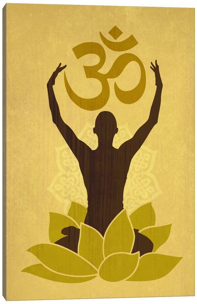OM Lotus Flower Pose Green Canvas Art Print