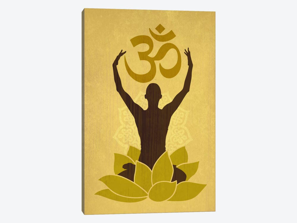 OM Lotus Flower Pose Green by Unknown Artist 1-piece Canvas Wall Art