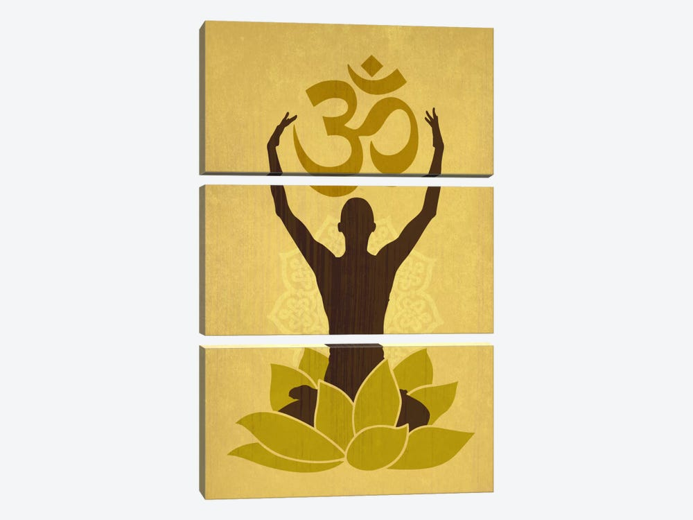 OM Lotus Flower Pose Green by iCanvas 3-piece Canvas Art