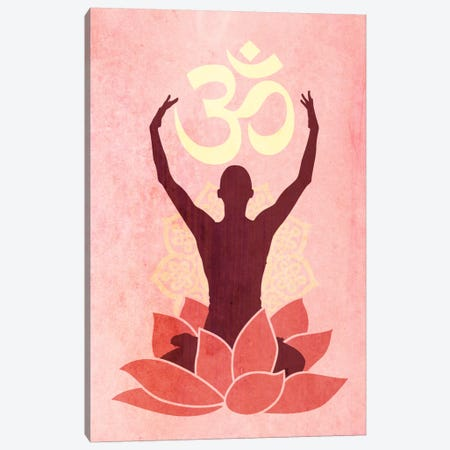 OM Lotus Flower Pose Pink Canvas Print #YOG4} by iCanvas Canvas Print