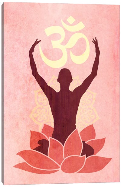 OM Lotus Flower Pose Pink Canvas Art Print