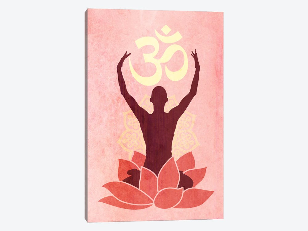 OM Lotus Flower Pose Pink by Unknown Artist 1-piece Art Print