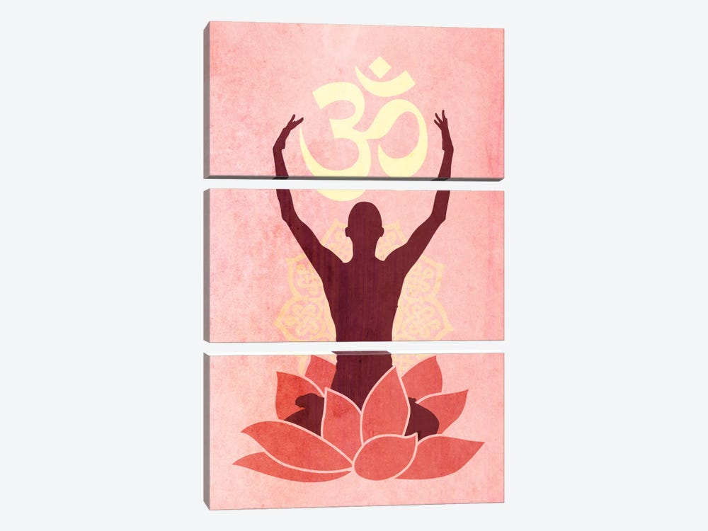 OM Lotus Flower Pose Pink by iCanvas 3-piece Canvas Art Print