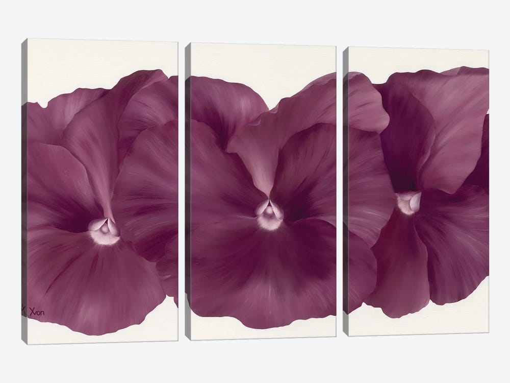 Violet Flower III by Yvonne Poelstra-Holzhaus 3-piece Art Print