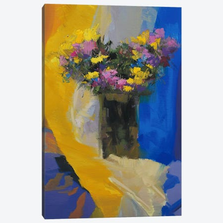 Chrysanthemums on Yellow Canvas Print #YPR124} by Yuri Pysar Canvas Wall Art