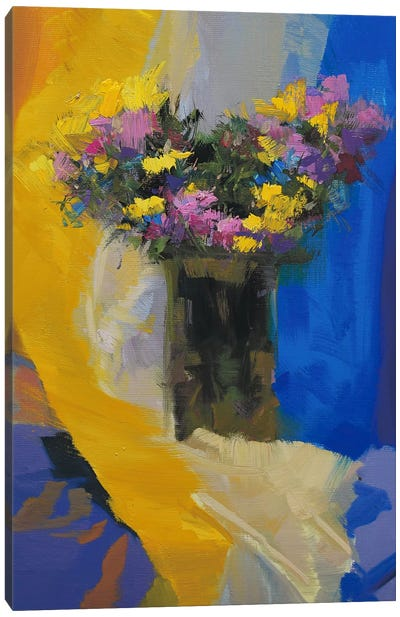 Chrysanthemums on Yellow Canvas Art Print