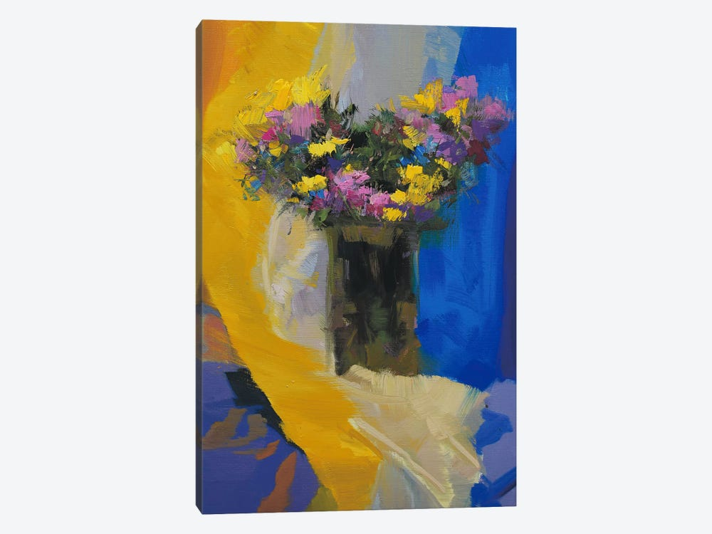Chrysanthemums on Yellow by Yuri Pysar 1-piece Canvas Art