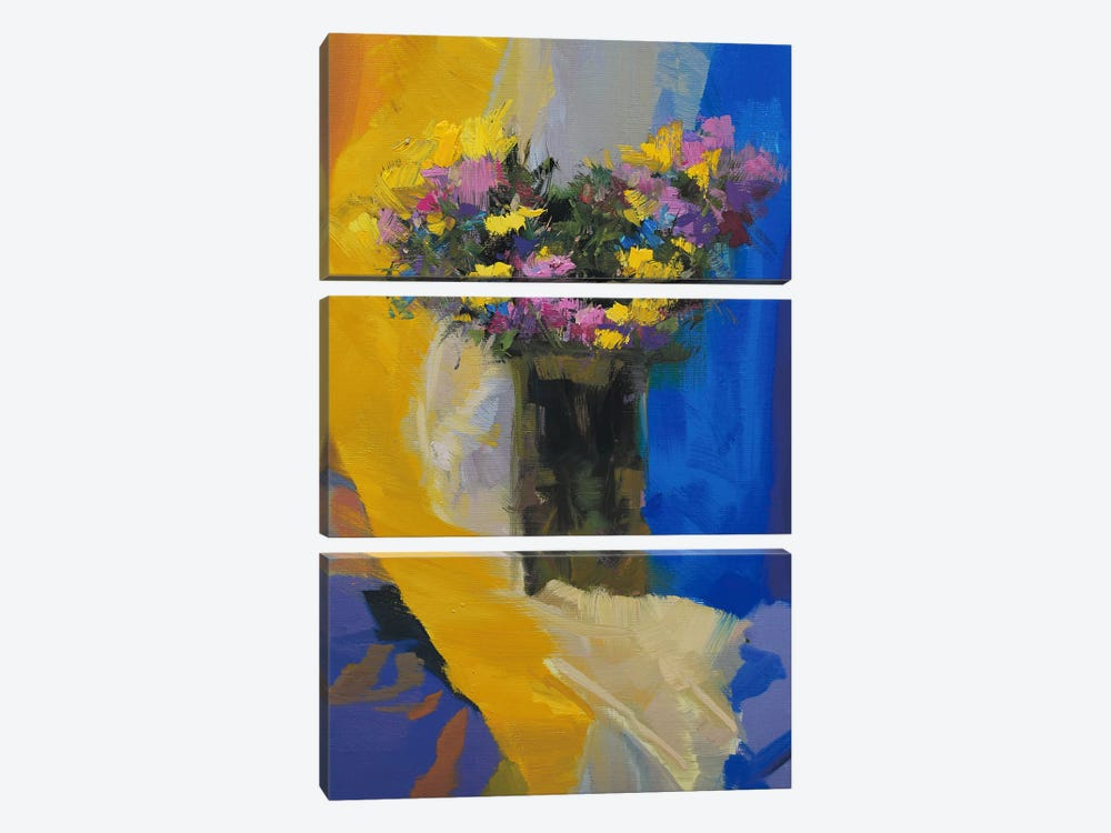 Chrysanthemums on Yellow by Yuri Pysar 3-piece Canvas Art