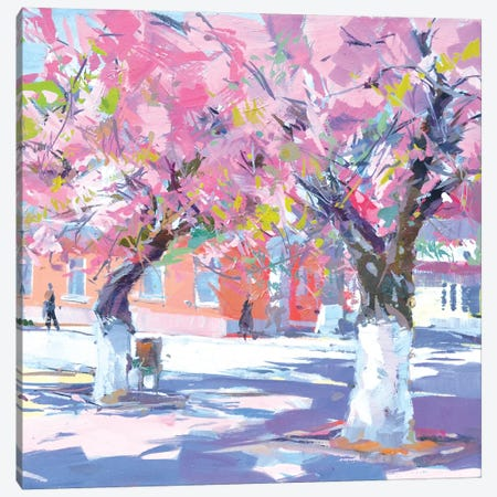 Sakura Hugs Canvas Print #YPR163} by Yuri Pysar Art Print