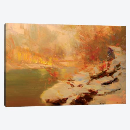 Evening at the River Canvas Print #YPR197} by Yuri Pysar Canvas Print