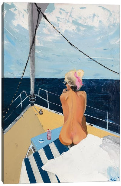 Girl On A Boat Canvas Art Print