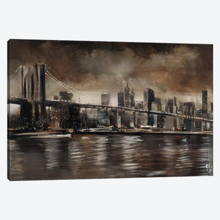 NY Brooklyn Bridge Canvas Print #YUL5} by Yuliya Volynets Canvas Art
