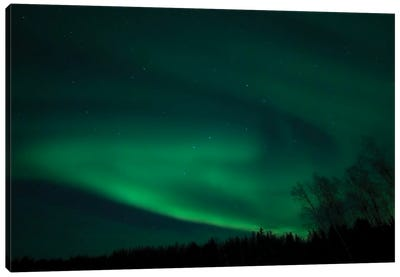 Green Aurora Above Far Lake, Yellowknife, Northwest Territories, Canada. Canvas Art Print