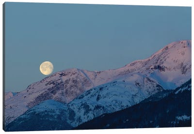 Moon And Alpenglow. Canvas Art Print