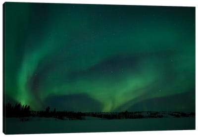 Active Aurora Over Vee Lake, Yellowknife, Northwest Territories, Canada. Canvas Art Print