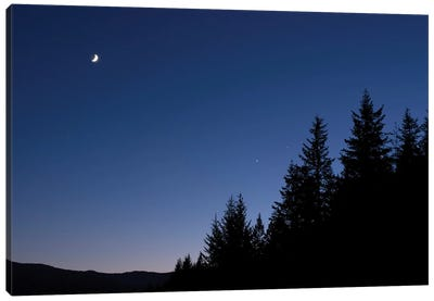 Moon, Venus And Jupiter Conjunction. Canvas Art Print