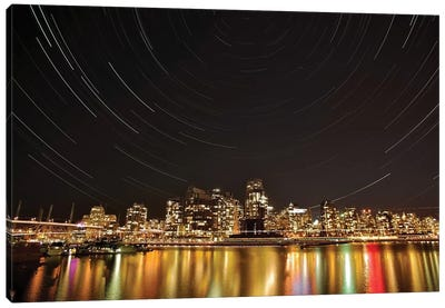 Star Trails Above Downtown Vancouver, British Columbia, Canada. Canvas Art Print