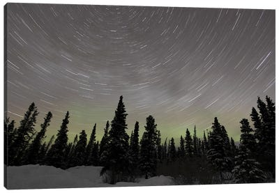 Star Trails, Milky Way And Green Aurora. Canvas Art Print