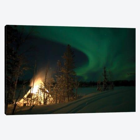 Aurora Above Aurora Village, Aurora Lake, Yellowknife, Northwest Territories, Canada. Canvas Print #YUT2} by Yuichi Takasaka Canvas Wall Art