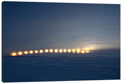 Sun Movement From Dettah Ice Road, Yellowknife, Northwest Territories, Canada. Canvas Art Print
